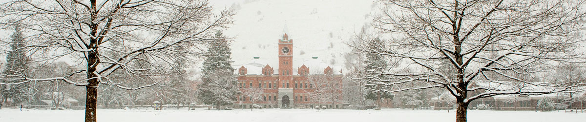 Main Hall and the Oval covered in a blanket of snow.