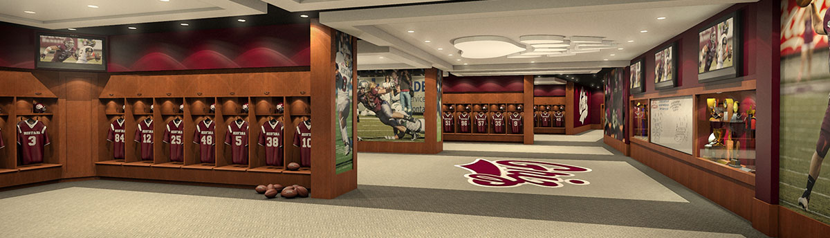 Rendering of the locker room in the future Champions Center
