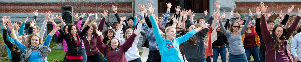 Students stand in the shape of an 'M' to celebrate the University of Montana.